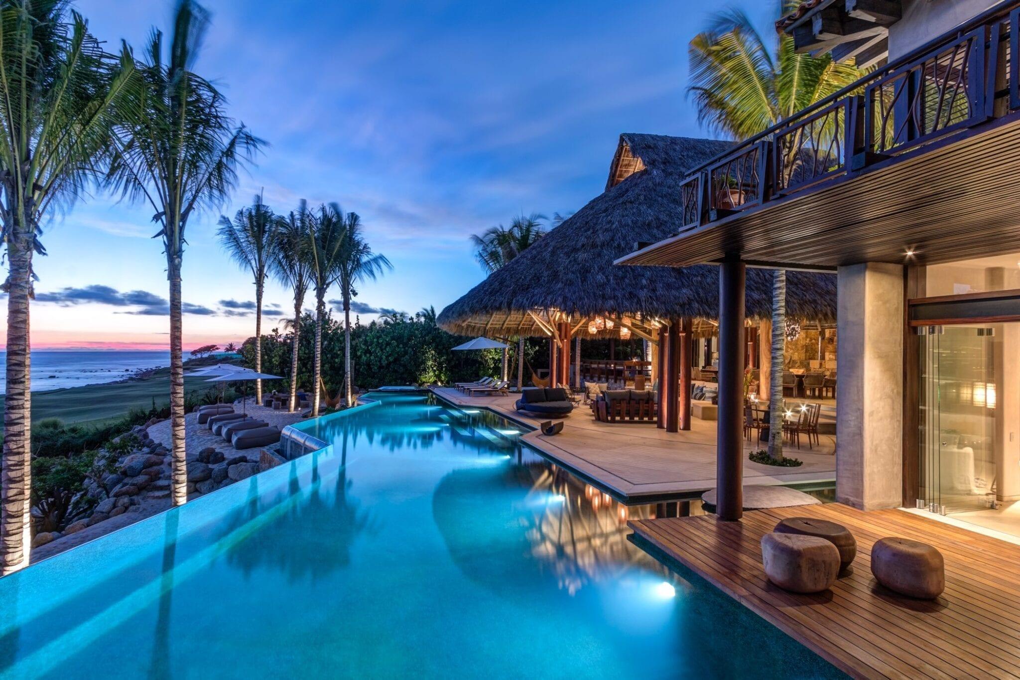 Casa Koko Pool Palapa Deck Sunset
