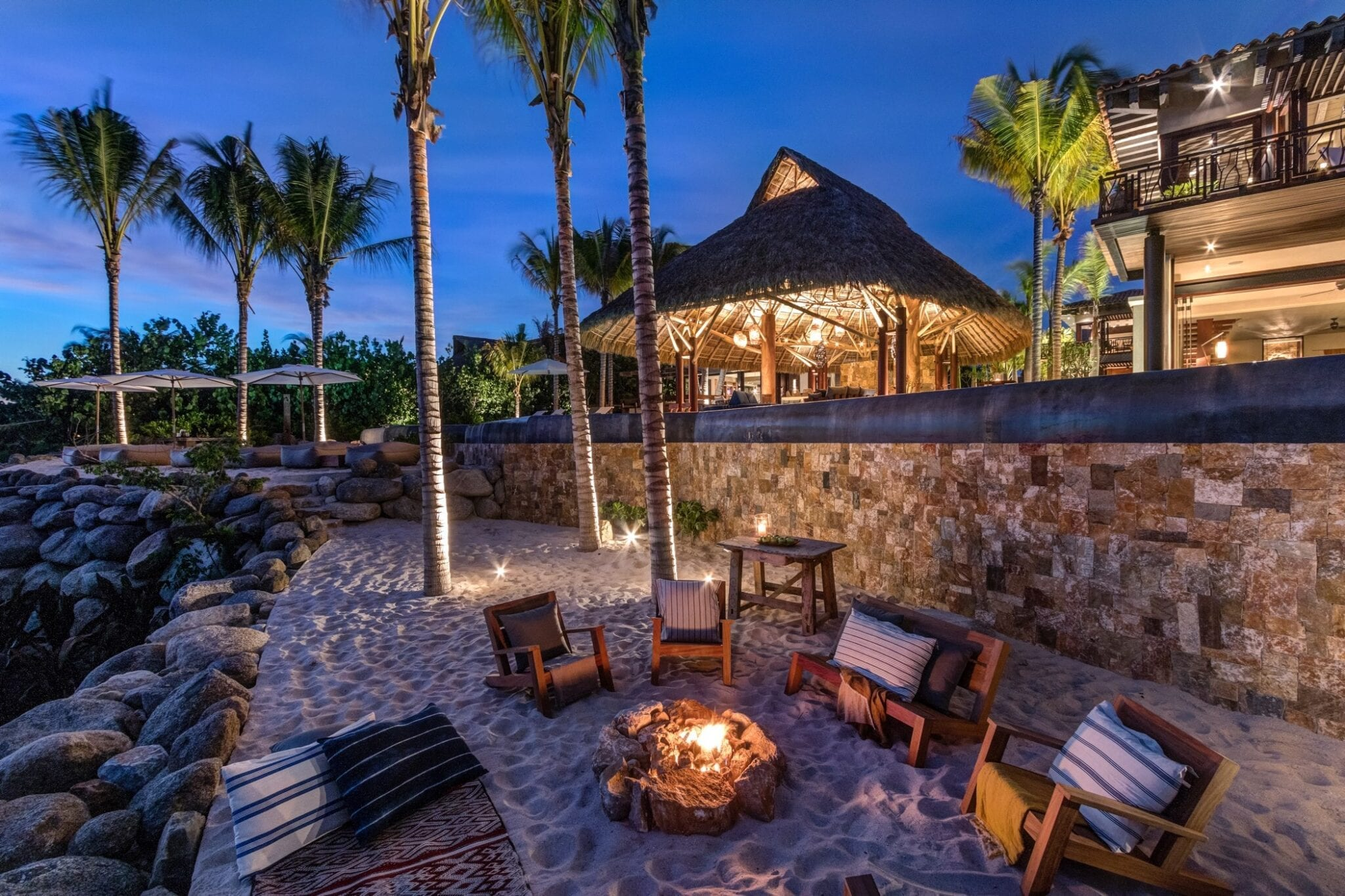 Casa Koko Sand Terraces Firepit Dusk